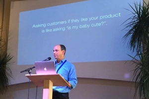 Photo of Alan Albert speaking at ProductCamp Seattle 2015